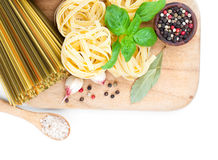 Fresh pasta and italian ingredients Stock Photography