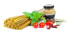 Fresh pasta and italian ingredients Stock Image
