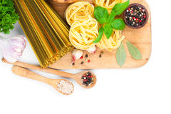 Fresh pasta and italian ingredients Royalty Free Stock Photo