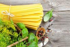 Fresh pasta and italian ingredients Stock Photo