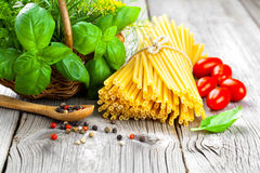 Fresh pasta and italian ingredients Royalty Free Stock Images