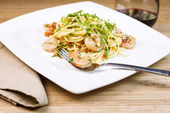 Fresh Pasta with large shrimp Royalty Free Stock Photos