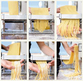 Fresh pasta making process collage Royalty Free Stock Photo