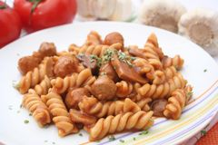 Fresh pasta with meatballs Royalty Free Stock Photography