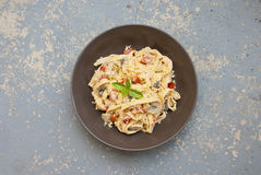 Fresh pasta with mushrooms Stock Image