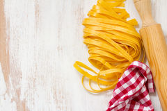 Fresh pasta and napkin Royalty Free Stock Images
