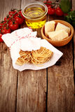 Fresh Pasta and Other Ingredients on Table Royalty Free Stock Images