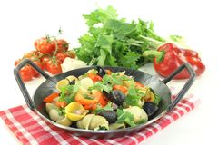 Fresh Pasta pan with bell pepper Royalty Free Stock Image
