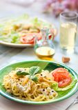 Fresh pasta with pepper sauce Royalty Free Stock Photography
