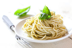 Fresh pasta with pesto Stock Images