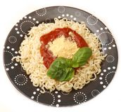 Fresh pasta with a sauce of tomatoes Royalty Free Stock Photography