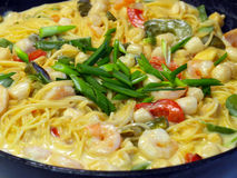 Fresh Pasta and Seafood Stock Photography