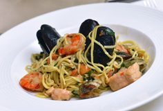Fresh pasta with seafood Stock Image