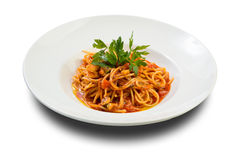 Fresh pasta with seafood Royalty Free Stock Image