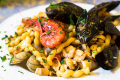 Fresh pasta with seafood.mediterranean cuisine Stock Images