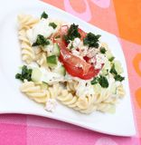 Fresh pasta. Some fresh pasta with cheese and tomatoes Royalty Free Stock Photos