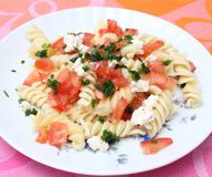 Fresh pasta. Some fresh pasta with cheese and tomatoes Stock Image