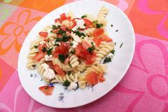 Fresh pasta. Some fresh pasta with cheese and tomatoes Royalty Free Stock Photography