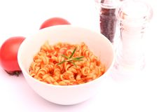 Fresh pasta. Some fresh pasta with meat sauce and tomatoes Royalty Free Stock Images
