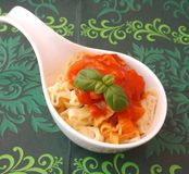 Fresh pasta. Some fresh pasta with a sauce of tomatoes stock images