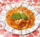 Fresh pasta. Some fresh pasta with a sauce of tomatoes royalty free stock photo