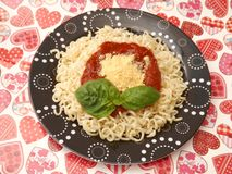 Fresh pasta. Some fresh pasta with a sauce of tomatoes stock photography