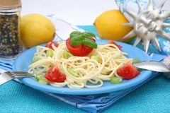 Fresh pasta. Some fresh pasta with tomatoes stock image