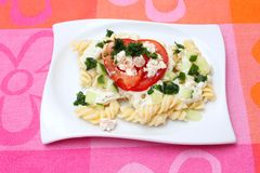 Fresh pasta. Some fresh pasta with tomatoes and cheese Royalty Free Stock Photos