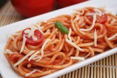 Fresh pasta. Some fresh pasta tomatoes and cheese Royalty Free Stock Image