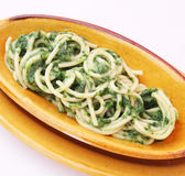 Fresh pasta with spinach. Some fresh pasta with spinach stock photography