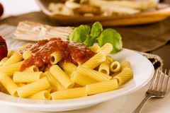 Fresh pasta with tomato sauce and basil Royalty Free Stock Photo