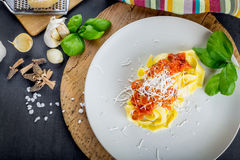 Fresh pasta with tomato sauce. Stock Image