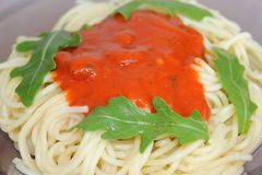 Fresh pasta with tomato sauce Royalty Free Stock Images