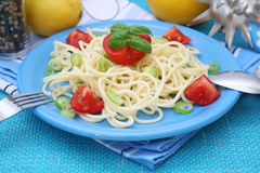 Fresh pasta with tomatoes Royalty Free Stock Photography