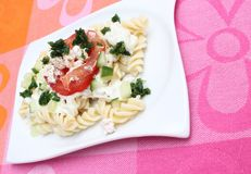 Fresh pasta with tomatoes and cheese Royalty Free Stock Photo