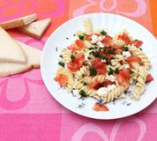 Fresh pasta with tomatoes and cheese Royalty Free Stock Photography