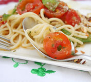 Fresh pasta with tomatoes Royalty Free Stock Image