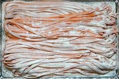 Fresh pasta on tray Royalty Free Stock Photos