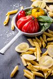Fresh pasta and vegetables Stock Image