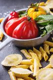 Fresh pasta and vegetables Royalty Free Stock Photography