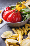 Fresh pasta and vegetables Stock Photo
