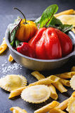 Fresh pasta and vegetables Stock Images