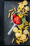 Fresh pasta and vegetables Stock Photography