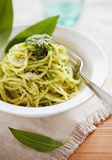 Fresh pasta with wild garlic pesto Royalty Free Stock Photography