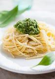 Fresh pasta with wild garlic pesto Stock Photo