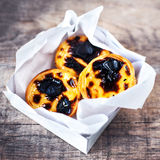 Fresh Pasteis de Nata - creamy egg tart with  sweet curstard, bl Stock Photo