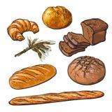 Fresh pastries, crisp bread isolated royalty free illustration
