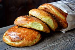 Fresh pastries from a market, qogal Royalty Free Stock Images