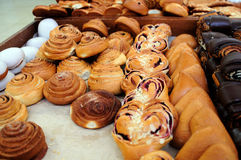 Fresh pastry at baker shop Stock Images