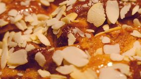 Fresh pastry crunch with maple syru stock video footage